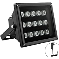 Univivi IR Light 90 Degree Wide Angle 15-Leds IR Infrared Illuminator with DC 12V Power Adapter for Security Cameras