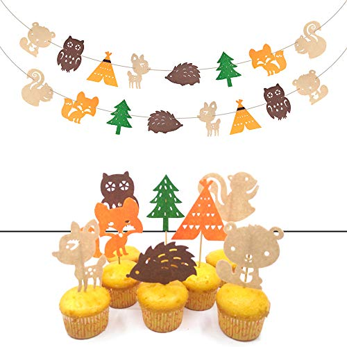v39buy Woodland Creatures Baby Shower Decorations With 2 Woodland Banners And 8 Pcs Woodland Animals Baby Shower Cupcake Toppers Made Of High Quality Felt]()