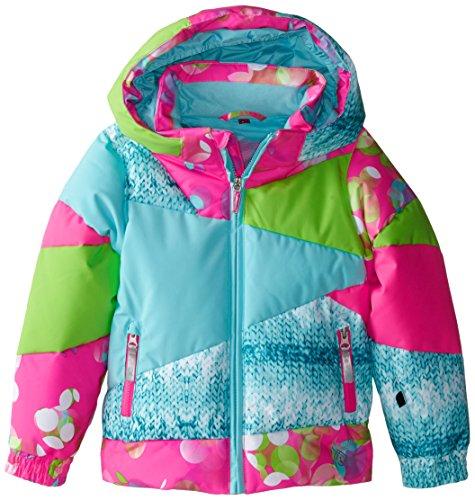 Spyder Girls Bitsy Duffy Puff Jacket, 6, Bryte Bubblegum Focus Print/Shatter Multi-Loop Print/Shatter (Snowboarding Jackets Spyder)
