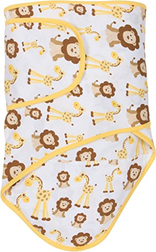 Giraffe Trim - Miracle Blanket Swaddle - Giraffes & Lions with Butter Yellow Trim