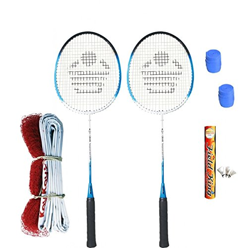 Cosco CB  85 Badminton Kit  2 Rackets, 2 Grip,1 Fieldking Shuttlecock and 1 Badminton Net