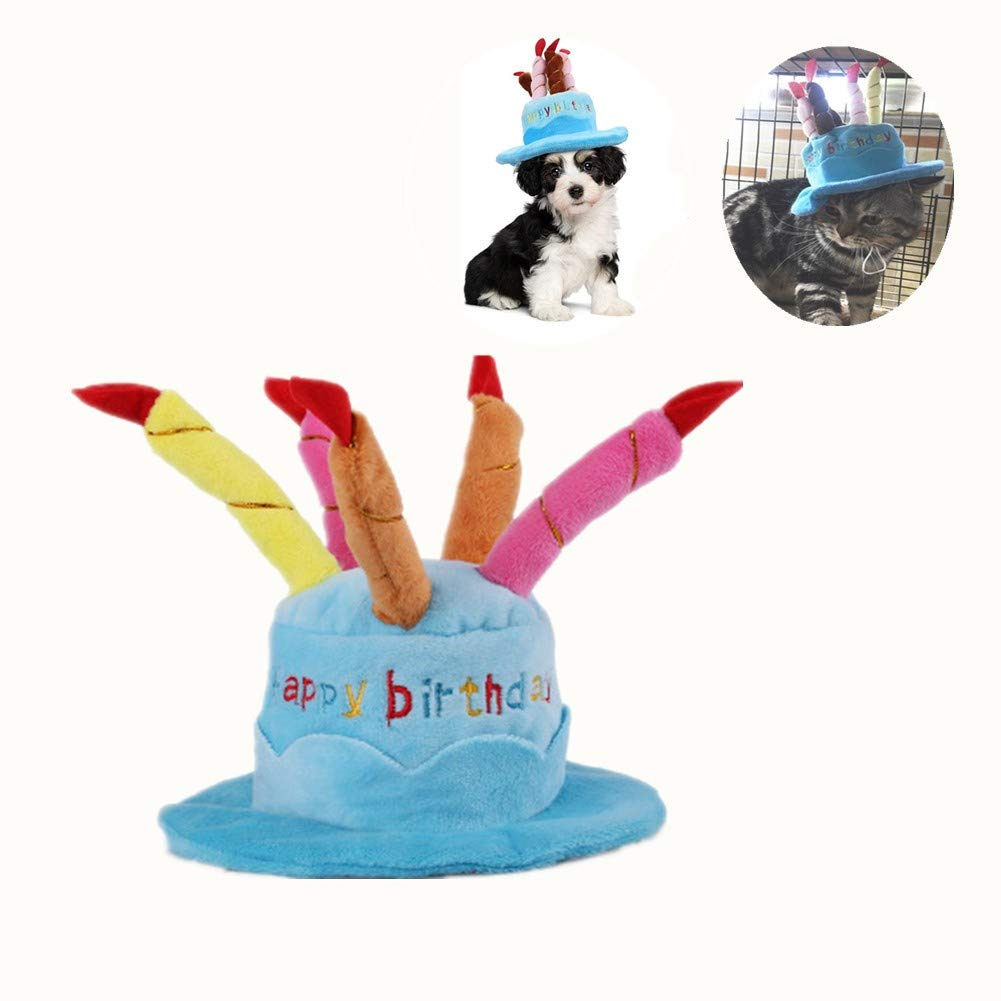 Pet Birthday Hat Cute Dog With Adjustable Colorful Candles For Large Medium Small Dogs Cats And Puppy Party Costume Accessory Blue