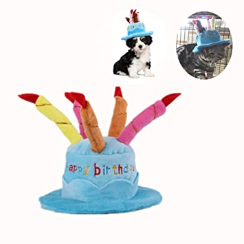 Pet Birthday Hat Cute Dog With Adjustable Colorful Candles For Large Medium Small