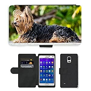 Super Stella Cell Phone Card Slot PU Leather Wallet Case // M00145465 Yorkshire Terrier Dog Small Dog // Samsung Galaxy Note 4 IV
