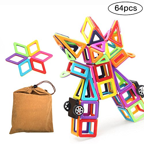 Magnetic Blocks,ITOY&IGAME Magnetic Blocks Building Set Toys 64pcs Magnetic Block Set Magnetic Tiles Set Educational Building Construction Toys for Toddler Kids With Carry Bag by ITOY&IGAME