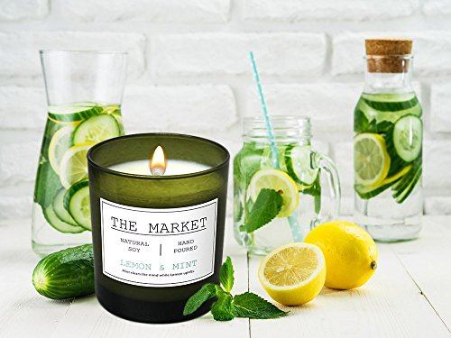 Scentsational THE MARKET Revitalizing Aromatherapy Essential Oil Scented Soy Candle (Lemon & Mint) - Mint clears the mind while Lemon uplifts. Natural Soy candle hand poured with an all cotton wick 11oz Hand poured scented jar soy candle with pine lid 1lb 6oz Weight - living-room-decor, living-room, candles - 51WNfQugPiL -