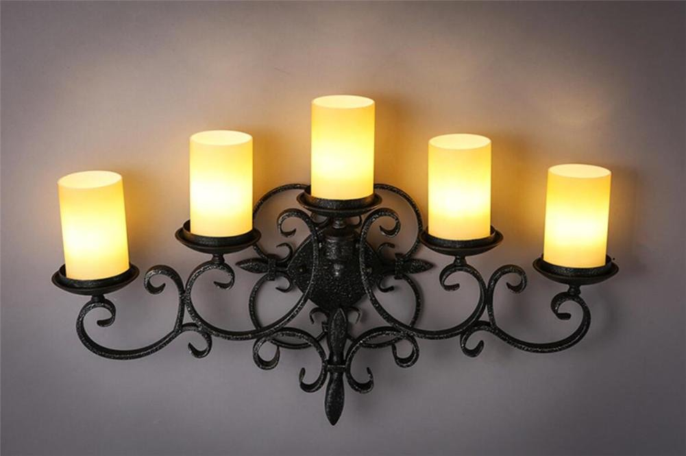 Wall Lights Wall Lamp Wall Sconce Hall Porch Walkway Staircase Candle Five Head CandleHolder Luxury Wall DéCor