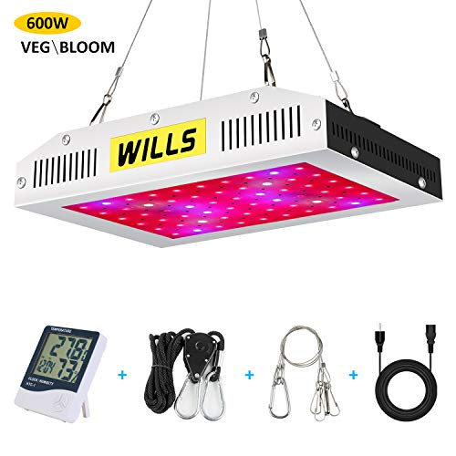 WILLS Upgraded Full Spectrum Led Grow Light 600W Veg&Bloom Double Switch Led Growing Lamp for Indoor Plants Hydroponics Growing (600W)