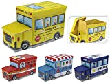 Koopman Kids Toy Storage Play Chest Bedroom Ottoman Seat Stool Vehicle Box Tidy (Fire Truck)