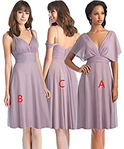 Women's A Line Pleated Chiffon Formal Bridesmaid Dress Short Prom Evening Party Dress