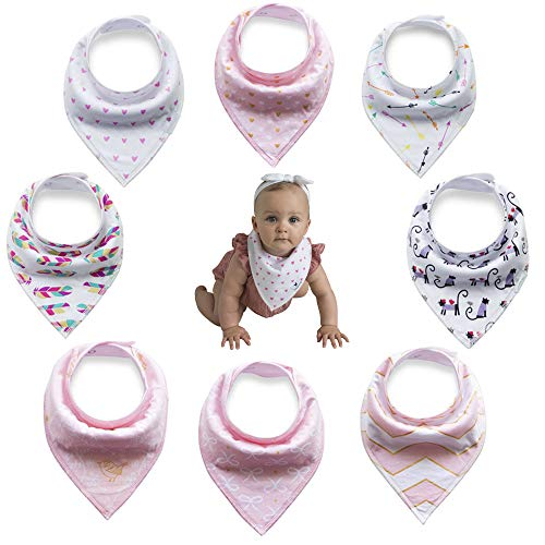 Olyssa & Co - Baby Bandana Drool Bibs - 8 Pack - Bonus Free TEETHER. for Drooling Teething Girls - Ultra Absorbent & Super Soft Organic Cotton Front. Perfect Baby Shower Gift Set.