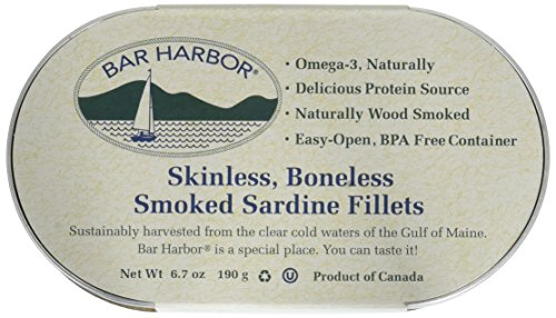 Bar Harbor Wild Smoked Sardine Fillets, Skinless Boneless (Pack of 12)