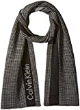 Calvin Klein Men's Thermal Grid Logo Scarf, Black, One Size