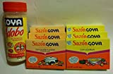 Goya Spice Combo Bundle:includes Adobo with Pepper 16.5-ounce Plastic Bottle, 3-boxes Sazon Goya Con Culantro Y Achiote and 3-boxes Goya Sazon Azafran Seasoning.