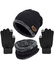 Yoklili Winter Knit Beanie Hat Neck Warmer Gloves Set, Fleece Lined Skull Cap Infinity Scarves Touch Screen Mittens for Men Women