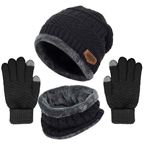 Winter Knit Beanie Hat Neck Warmer Gloves Set, Fleece Lined Skull Cap Infinity Scarves Touch Screen Mittens for Men Women (Black)