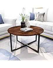 Diolong End Table Side Table Modern Design Coffee Table for Living Room (Rustic Brown)