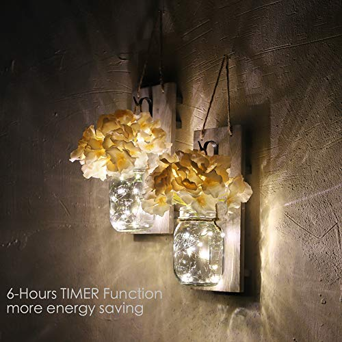 HOMKO Decorative Mason Jar Wall Decor – Rustic Wall Sconces with 6-Hour Timer LED Fairy Lights and Flowers – Farmhouse…