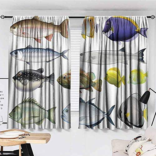 KAKKSW Bedroom Blackout Curtains, Ocean Animal Decor, Type of Pacific Fish with Mackerel Salmon and Sea Bass Exotic Wild Home Decor, Great for Living Rooms and Bedrooms, 72