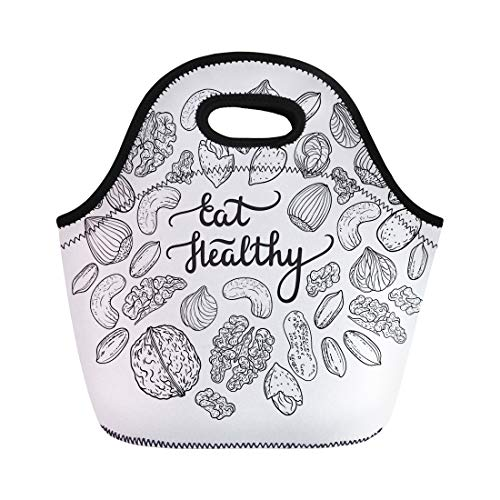 Semtomn Lunch Bags Seed Green Cashew Healthy Lifestyle Vegan Mix Doodle Drawn Neoprene Lunch Bag Lunchbox Tote Bag Portable Picnic Bag Cooler Bag