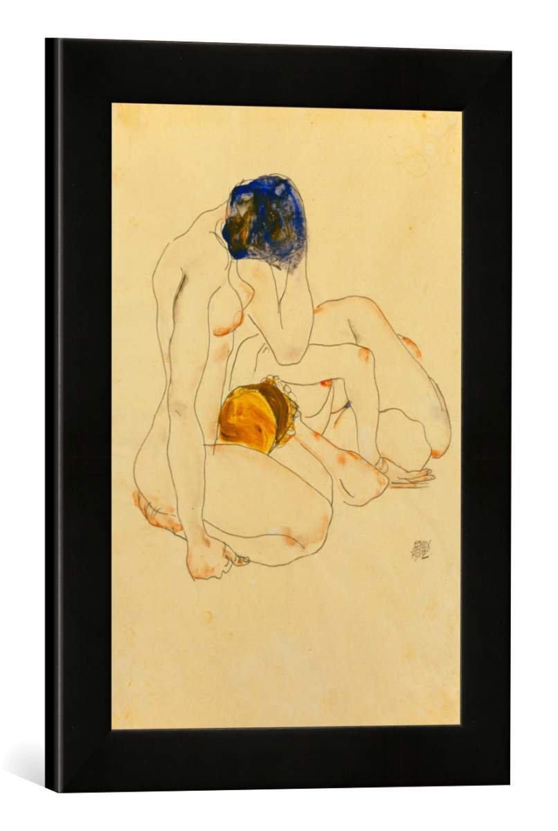 Gerahmtes Bild von Egon Schiele Zwei Freundinnen, Kunstdruck im hochwertigen handgefertigten Bilder-Rahmen, 30x40 cm, Schwarz matt
