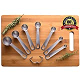 Stainless measuring spoons set of 7 - Small Tablespoon to 1/8 metal Teaspoon set Mini stainless measure spoons with Ring Holder Bonus 10K Recipe E-book by Palada