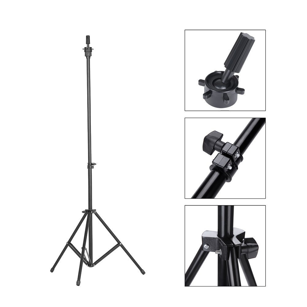 Abody Wig Stand Adjustable Tripod Stand Holder for Hairdressing Training Head Mannequin Head with Carry Bag