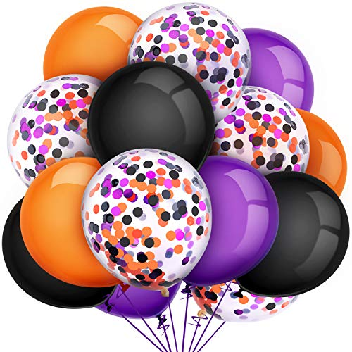 Halloween Decorations Balloons (Tatuo 80 Pieces Halloween Balloons Set Confetti Balloons Latex Balloons for Birthday Baby Shower Wedding Graduation 4th of July Decorations, 12 Inch (Black, Orange,)