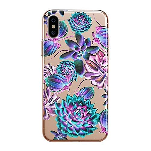 Milkyway Clear Case Compatible with iPhone Xs/X Clear Case Design Protective Back Case Cover for Apple iPhone X/XS [Supports Wireless Charging] - Montrose Roses Blue Glow Avatar -