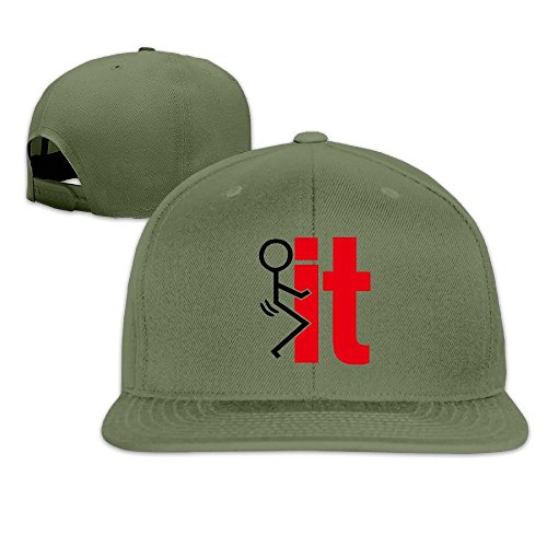 Price comparison product image BASEE Fuck It Funny Screw It Vinyl Decal Adjustable Flat Along Baseball Cap ForestGreen