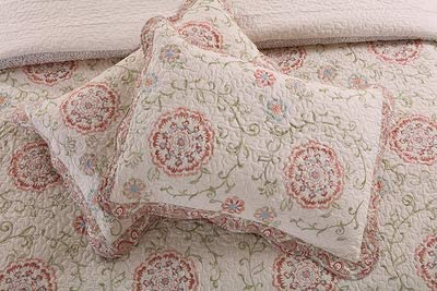 BedMATE 100/% Cotton Embroidery Floral Quilted Pillow Sham 2 PCs Set Floral Pillow Case Women Girl Gift Idea Sham 1