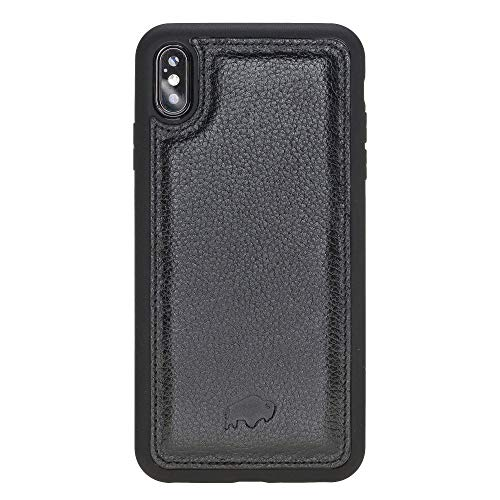 Burkley Case 360 Degree Snap-on Back Cover Case for Apple iPhone Xs MAX | Slim & Lightweight Flex Back Cover, Handcrafted from Full Grain Leather (Pebble Black)