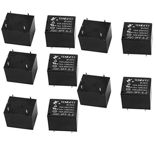 Resistance Coil Relay (uxcell 10Pcs JQC-3FF-S-Z DC9V 10A 0.36W 4 Terminal SPST NO Mini Changeover Power Coil Relay)