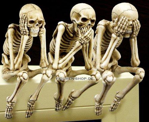 3.75 Inch See, Speak and Hear No Evil Shelf Sitters Statue Figurine (Skeleton Shelf Sitter)