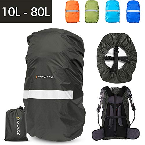 PORTHOLIC Waterproof Backpack Rain Cover 【45-65L】【Reflective Strip Design】 Non-Slip Cross Buckle Strap & Rainproof Storage Pouch,Perfect for Hiking, Camping, Traveling, Outdoor Activities