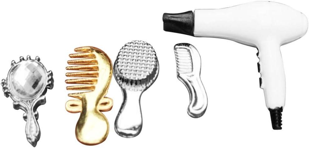1//12 Dollhouse Miniature Bathroom Accessory Comb Hair Dryer Mirror 4pcs Set uh
