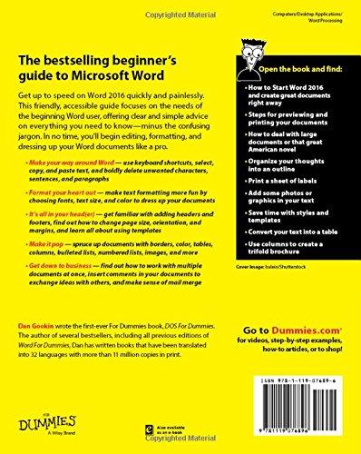 Word 2016 For Dummies Amazon Co Uk Dan Gookin 9781119076896 Books