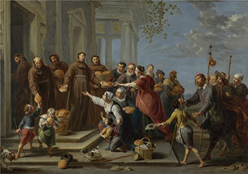 Oil Painting 'Willem Van Herp The Elder Saint Anthony Of Padua Distributing Bread', 24 x 34 inch / 61 x 87 cm , on High Definition HD canvas prints, Home - Find Your Shape App Face