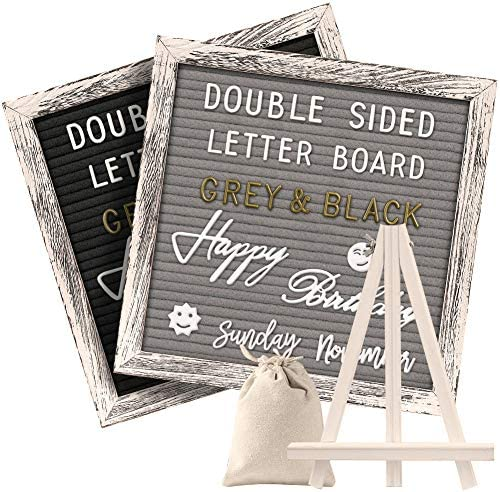Rustic Stand Emojis Letter Bags Numbers Tabletop Display AlexBasic Double Sided Felt Letter Board with 750 Uncut Gold /& White Letters Months /& Days Cursive Words