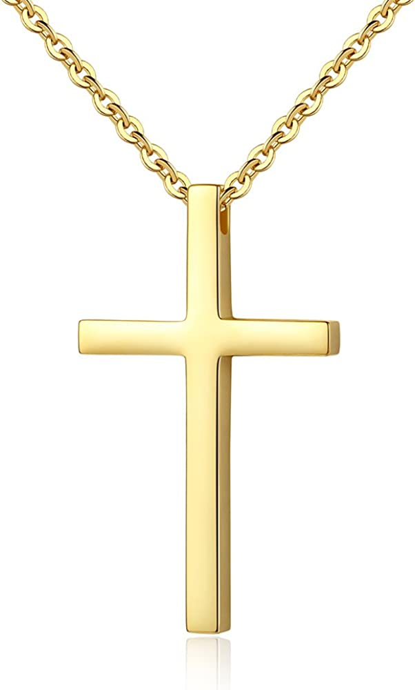 Reve Simple Stainless Steel Cross Pendant Chain Necklace for Men Women, 20-22 Inches Link Chain