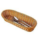 2 Set 14.5'' Poly-Wicker Bread Basket, Long Woven Tabletop Food Serving Basket, Honey Brown - Set of 2