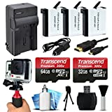 96GB MicroSD Memory + (3 Pack) Battery + Travel Charger + HDMI + HG-1 Stabilization Handgrip + SD Card Reader + Dust Cleaning and Removal Kit for GoPro HERO4 Hero 4 Black Silver Camera Camcorder