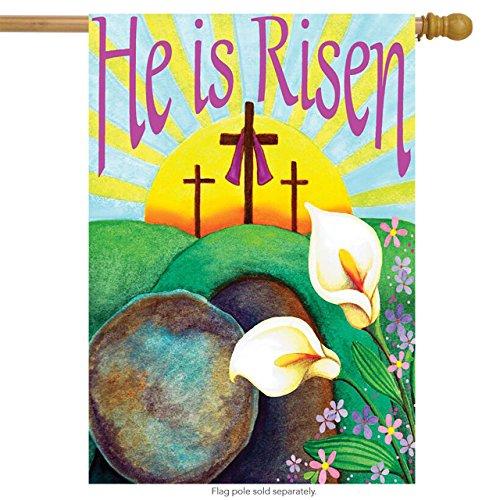 He Is Risen Easter House Flag Religious Cross 28