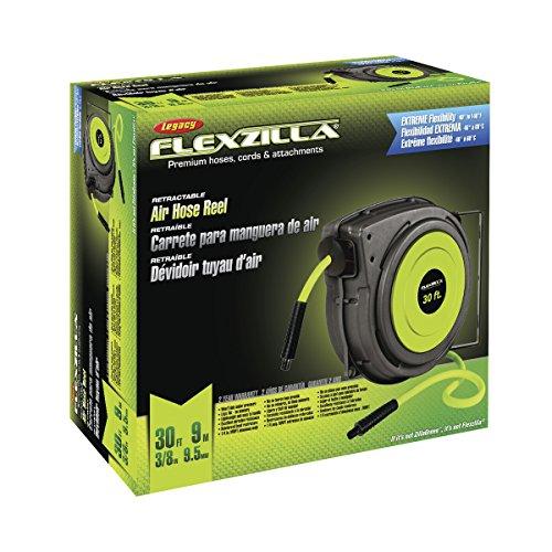 Flexzilla Retractable Enclosed Plastic Air Hose Reel, 3/8 in. x 30 ft., Heavy Duty, Lightweight, Hybrid, ZillaGreen - L8230FZ by Flexzilla (Image #1)