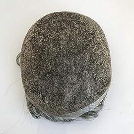 Human Hair Toupee Brazilian Remy Grey Color Men Toupee Hair Replacement Wavy Toupee For Men
