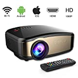 Video Projector WiFi Full HD, VPRAWLS Wireless Portable Movie Projector With HDMI USB Headphone Jack TV Good For Home Theater Entertainment Game XBOX ONE 130'' Max Display Mini Projector