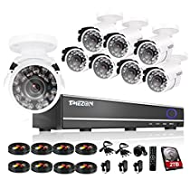 TMEZON 16CH CCTV Security DVR HDMI P2P with 8x 800tvl Hi-Resolution IR Cut Outdoor Security Surveillance Cameras Weatherproof System Remote Access Mobile 2TB HDD