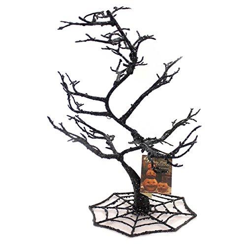 Halloween Spider Web Tree Plastic Glittered Black Sn6608