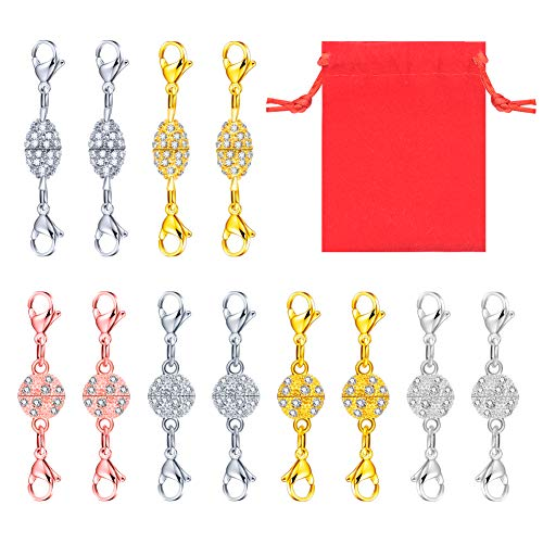 Quacoww 12 Pieces Magnetic Lobster Clasps 2 Styles Rhinestone Ball Lobster Clasp with a Velvet Bag for Jewelry Making