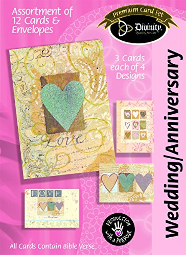 Divinity Boutique Greeting Card Assortment: Anniversary/Wedding, Paper Hearts (22384N)